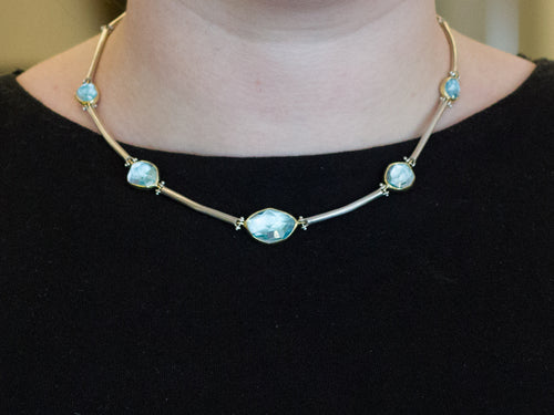 18K Yellow Gold, Sterling Silver and Aquamarine Necklace