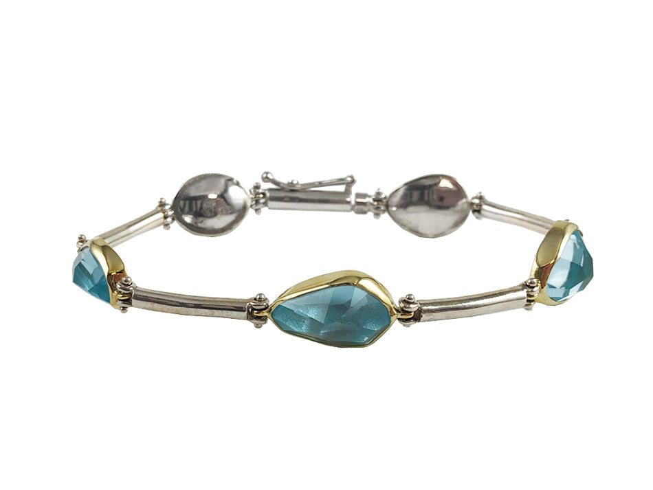 Sterling Silver, 18K Yellow Gold and Aquamarine Bracelet
