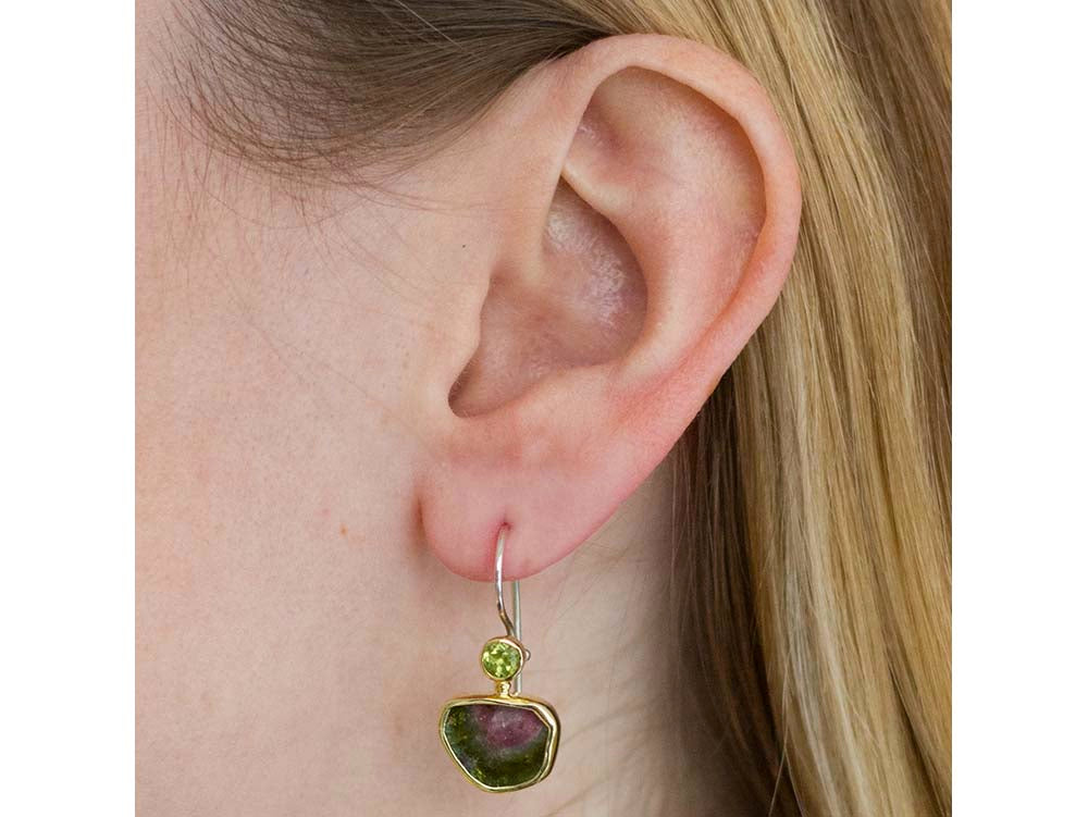 Peridot And Watermelon Tourmaline Earrings