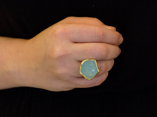 18K Yellow Gold, Sterling Silver and Aquamarine Ring