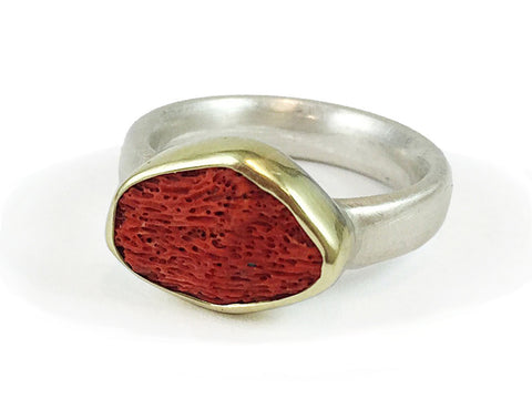 "18K Yellow Gold, Oxidized Silver and Diamond ""Charley"" Ring"