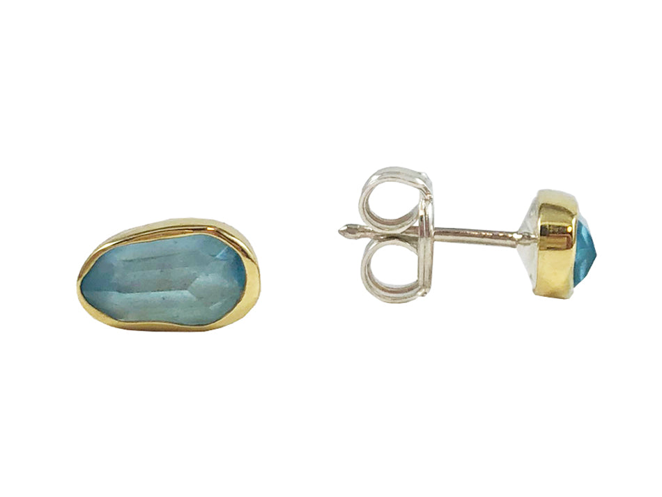 18K Yellow Gold, Sterling Silver and Aquamarine Stud Earrings