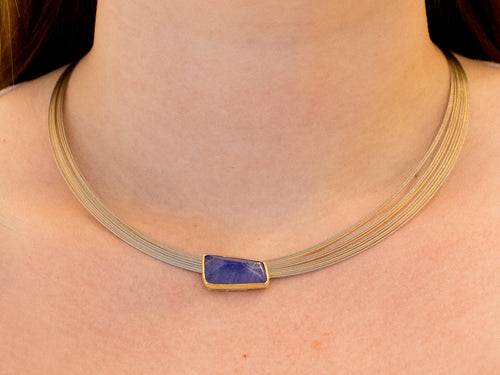Tanzanite Pendant with Stainless Steel Coil Necklace