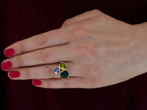 18K Yellow Gold, Tanzanite, Peridot and Tourmaline Ring