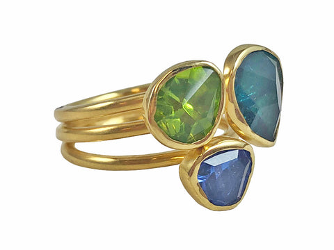 "18K Yellow Gold, Sapphire, Tsavorite and Ruby ""Bubble"" Ring"