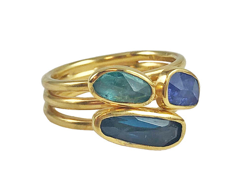 18K Yellow Gold, Tanzanite, London Blue Topaz and Green Tourmaline Ring