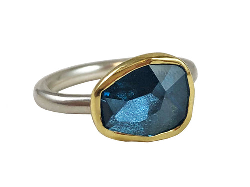 18K Yellow Gold, Sterling Silver and London Blue Topaz Ring