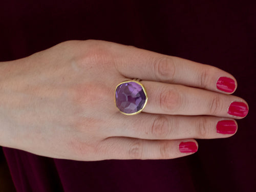 18K Yellow Gold, Sterling Silver and Amethyst Ring