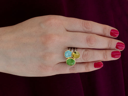 18K Yellow Gold, Sterling Silver, Peridot, Aquamarine and Lemon Quartz Ring