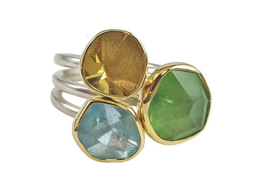 Peridot, Aquamarine and Lemon Quartz Ring