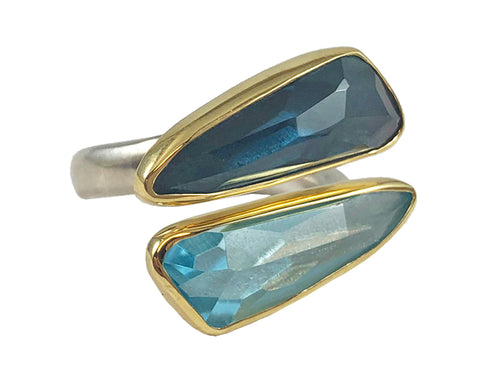 18K Yellow Gold, Sterling Silver, London Blue Topaz and Aquamarine Ring