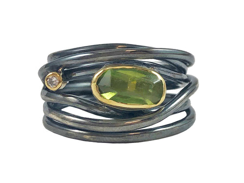 Oxidized Sterling Silver, 18K Yellow Gold, Peridot and Diamond Ring