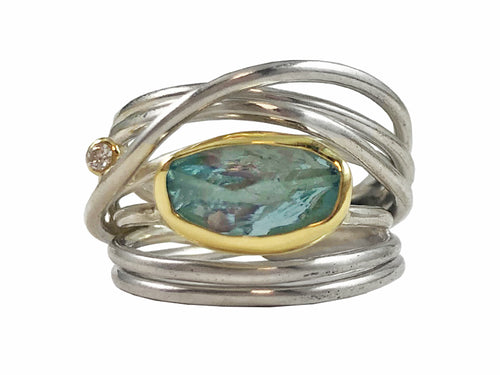Sterling Silver, 18K Yellow Gold, Aquamarine and Diamond Ring