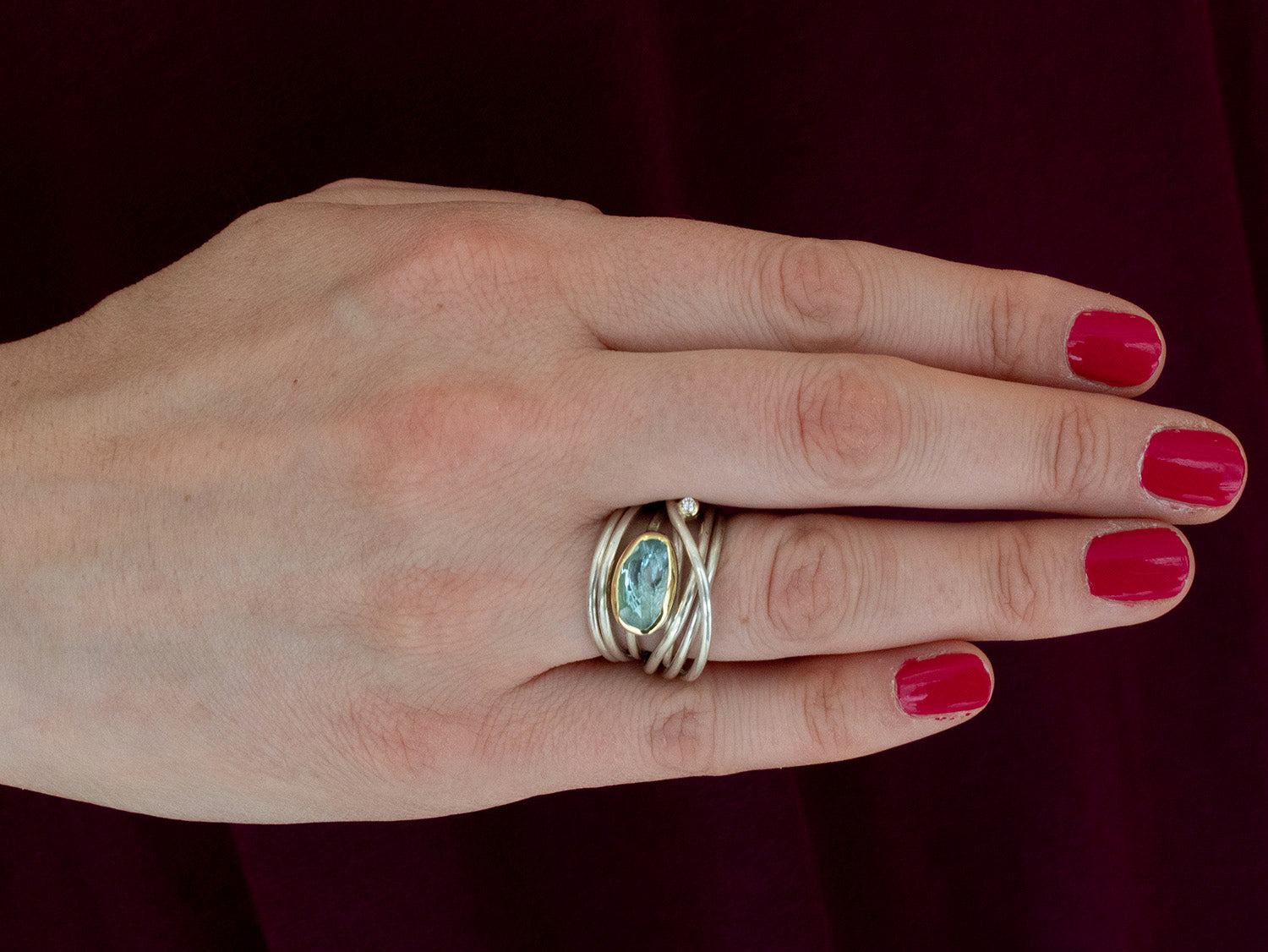 Aquamarine Twist Ring