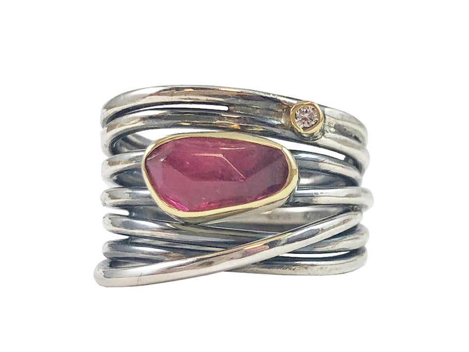 18K Yellow Gold, Partially Oxidized Sterling Silver, Pink Tourmaline and Diamond Ring