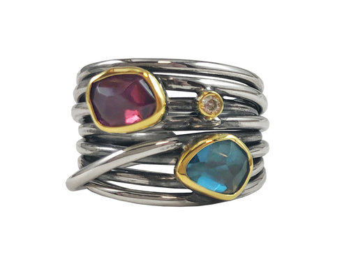 18K Yellow Gold, Partially Oxidized Sterling Silver, Tourmaline, Topaz and Diamond Ring