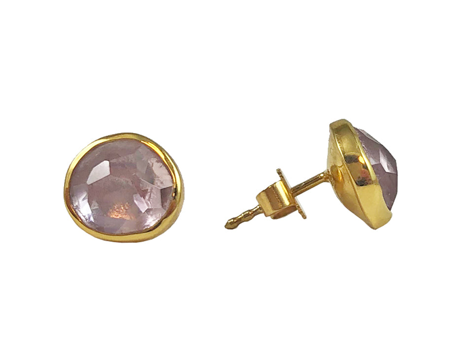 18K Yellow Gold and Morganite Stud Earrings in Washington DC