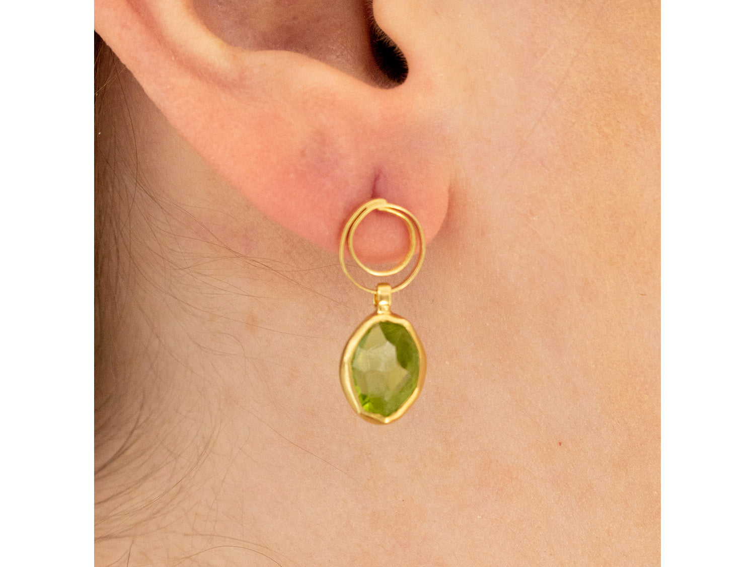 18K Yellow Gold and Peridot Earrings in Washington DC