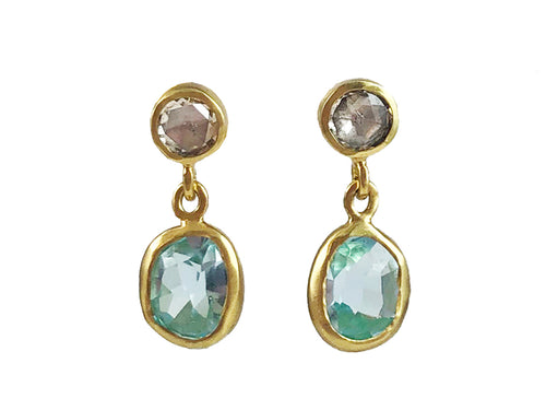 18K Yellow Gold, Diamond and Aquamarine Earrings in Washington DC
