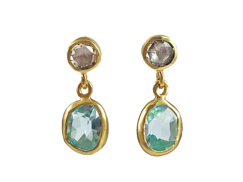 "18K Rose Gold ""Diamond in Glass Ball"" Earrings"