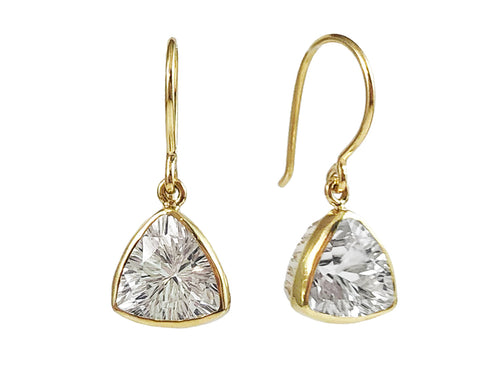 18K Yellow Gold, Sterling Silver and White Topaz Earrings