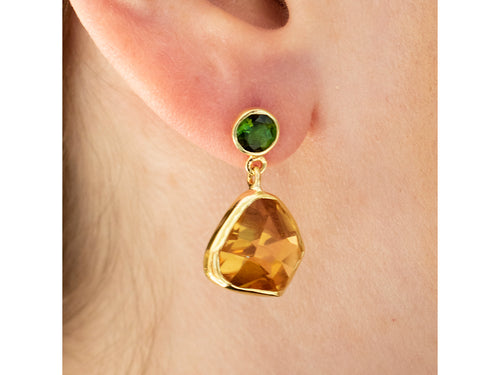 18K Yellow Gold, Sterling Silver, Tourmaline and Citrine Earrings in Washington DC