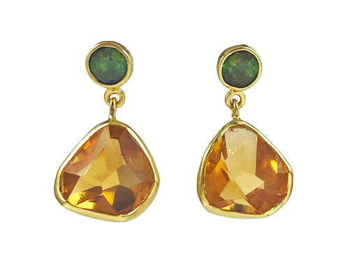 18K Yellow Gold, Sterling Silver, Tourmaline and Citrine Earrings