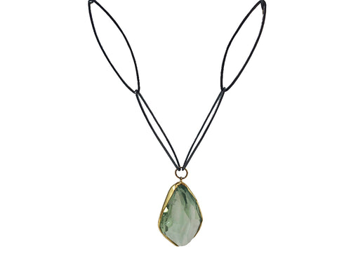 18K Yellow Gold, Oxidized Sterling Silver and Green Amethyst Necklace