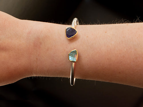18K Yellow Gold, Sterling Silver, Aquamarine and Tanzanite Cuff Bracelet