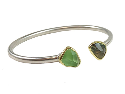 18K Yellow Gold, Sterling Silver, Peridot and Amethyst Cuff Bracelet