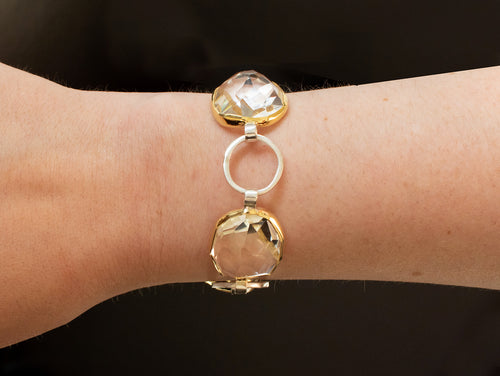 18K Yellow Gold, Sterling Silver and Quartz Bracelet