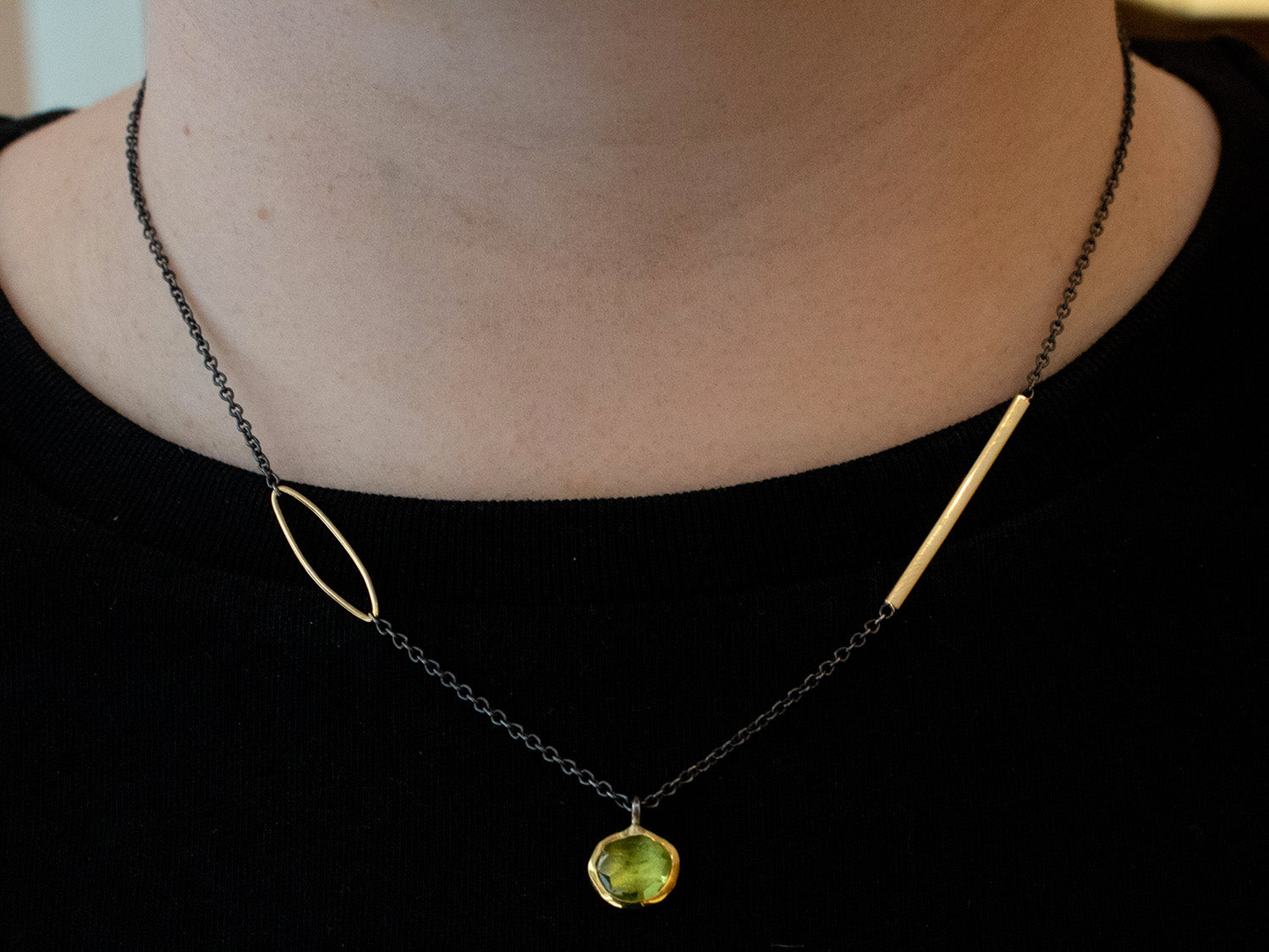 18K Yellow Gold, Oxidized Sterling Silver and Peridot Necklace