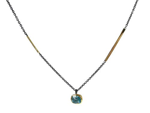 18K Yellow Gold, Oxidized Sterling Silver and Aquamarine Necklace