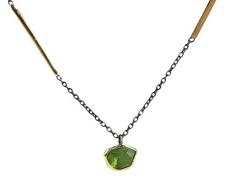 Gold Plated Sterling Silver and Labradorite Necklace