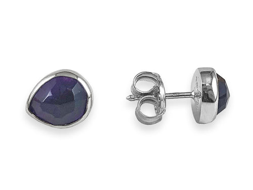 18K White Gold, Sterling Silver and Amethyst Stud Earrings