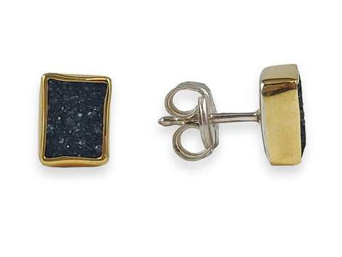 18K Yellow Gold, Sterling Silver and Black Onyx Druzy Stud Earrings