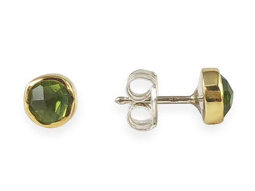 18K Yellow Gold, Sterling Silver and Peridot Stud Earrings