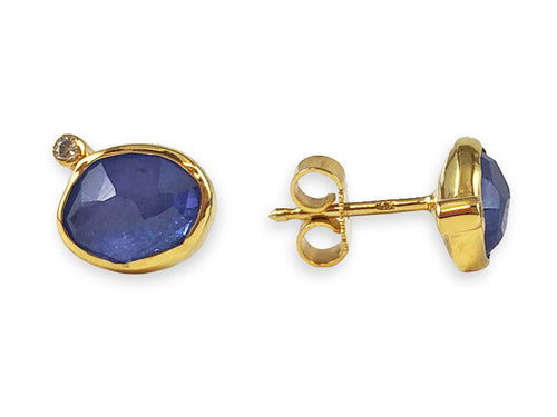 18K Yellow Gold, Sterling Silver, Tanzanite and Diamond Stud Earrings