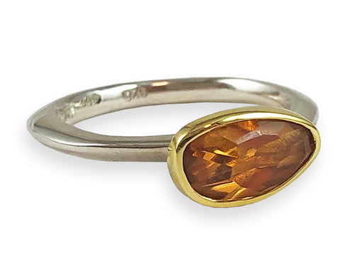 18K Yellow Gold, Sterling Silver and Citrine Ring