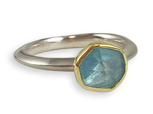 Sterling Silver, 18K Yellow Gold and Aquamarine Ring