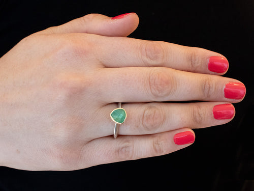 18K Yellow Gold, Sterling Silver and Green Tourmaline Ring