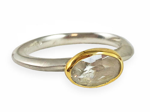 18K Yellow Gold, Sterling Silver and Crystal Quartz Ring