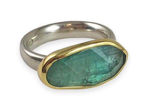 18K Yellow Gold, Sterling Silver and Tourmaline Ring