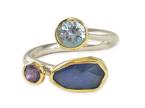 18K Yellow Gold, Sterling Silver, Aquamarine, Iolite and Amethyst Ring