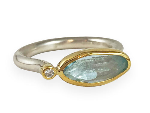 18K Yellow Gold, Sterling Silver, Aquamarine and Diamond Ring