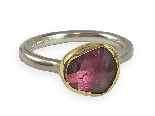 18K Yellow Gold, Sterling Silver and Watermelon Tourmaline Ring