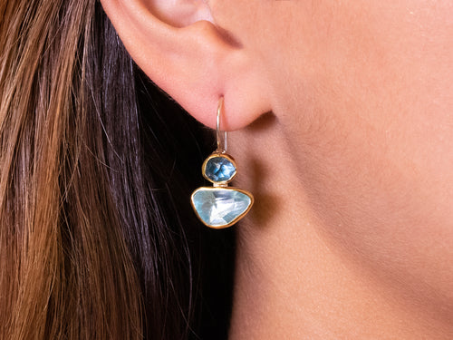 Shades of Blue Topaz and Aquamarine Earrings