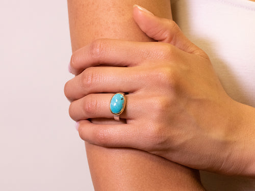 Sculptural Turquoise Cabochon Ring