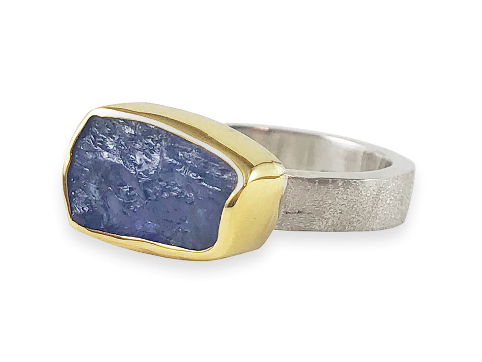 Exotic Rough Cut Tanzanite Ring