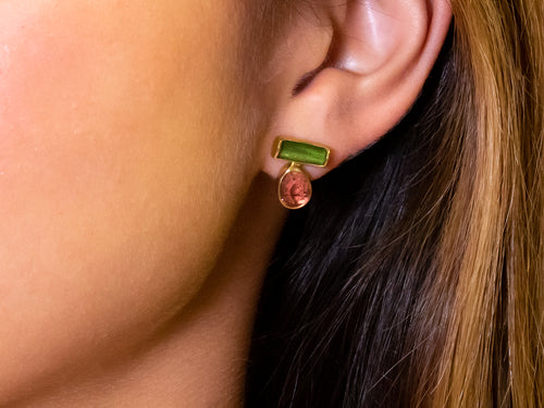Pink and Green Tourmaline Stud Earrings